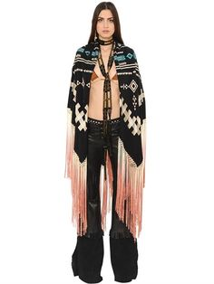 ROBERTO CAVALLI - EMBROIDERED FRINGED CREPE DE CHINE SHAWL - BLACK