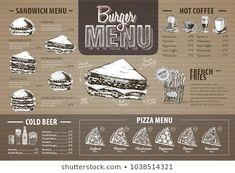 Images, photos et images vectorielles de stock similaires de Restaurant Food Menu Design Chalkboard Background - 196454786 similaires | Shutterstock Sandwich Menu, Pizza Menu, Menu Design, Menu Restaurant, Hot Coffee, Images, Sandwiches, Photos, Chalkboard