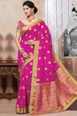 Hot magenta pink Art Silk Weaving #Printed #Party #Sarees