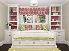 Love this idea!  What a great way to maximize floor space while providing plenty of storage with a built in bed & shelves