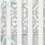 gray and mint modern lattice print crib bumpers