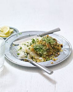 A simple and impressive fish supper with a crunchy, herby crust and zingy lemon rice.