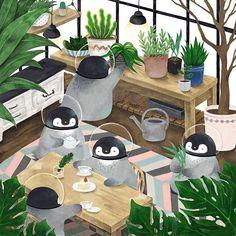 타블렛 산 후로 우여곡절이 많았어요 ㅠㅠㅠㅠㅠ 에어컨 고장남 + 할무니노트북 충전기 고장....! 이제 다시 열심히 그림 그려야겠어요  . . . #illust #illustration #illustrator #painter #penguin #drawing #plant #일러스트 #일러스트레이션 #일러스트레이터 #그림 #페인터 #드로잉
