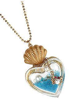 Betsey Johnson sea in a heart bottle necklace
