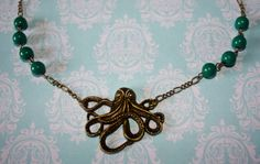Handmade Antique Bronze Necklace With Octopus by PlasticFloozy, £4.99