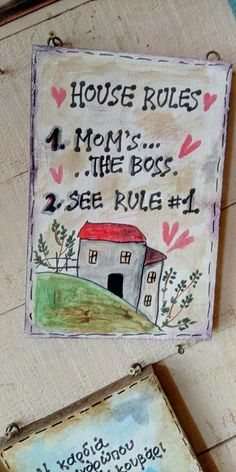 House Rules, Wooden Signs, Wooden Plaques, Wood Signs