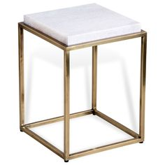 Carlton Hollywood Regency Square White Marble Antique Brass Side End Table