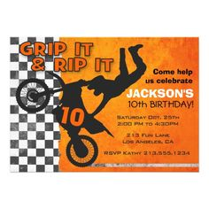 Motocross Dirt Bike Boys Birthday Party Orange Card Celebrate an awesomely, extreme birthday with this rad motocross invitation! Features a grey and orange grunge and checkered background with a silhouette of a biker doing a sweet trick! Motocross Birthday Party, Motorcycle Birthday Parties, Dirt Bike Party, Dirt Bike Birthday, 10th Birthday, 2nd Birthday Parties, Birthday Party Invitations, Birthday Ideas, Bmx
