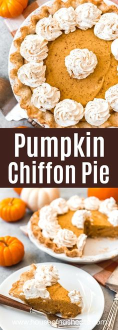 Up your pumpkin pie game this Thanksgiving holiday with a Pumpkin Chiffon Pie. It is a lighter, airier version of the traditional pumpkin pie. Pumpkin Chiffon Pie, Pumpkin Pie Mix, Pumpkin Puree, Fun Desserts, Delicious Desserts, Dessert Recipes, Tart Recipes, Baking Recipes, Pie Game