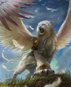 White Winged Lion, Anna Lakisova on ArtStation at https://www.artstation.com/artwork/OBmJw