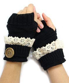 Black Button Fingerless Gloves | zulily