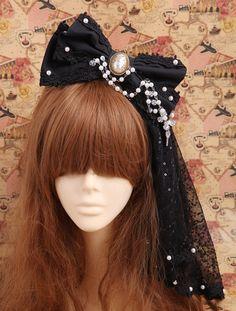 Souffle handmade headdress Gothic LOLITA imitation pearls models equipped with Sasa big KC Card - Taobao