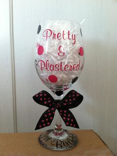 Personalized 21st Birthday Wine Glass  pretty and plastered