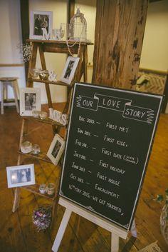Blackboard Love Story Fun Country Mill Party DIY Wedding http://www.francismeaney.co.uk/