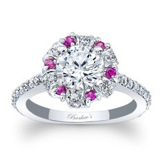 Pink Sapphire Halo Engagement Ring 7964LPSW