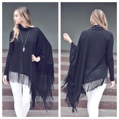 Cowl neck fringe tunic DO NOT  buy this listing, comment below to make sure I have your size available and I will make you a personal listing  Gorgeous Cowl neck long sleeve assymertrical fringe tunic. available in size S(2-4) M(6-8) and L(10-12). Fits true to size. Color: black. ❌Price firm unless bundled ❌ T1475201 2 a T Boutique  Tops Tunics