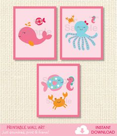 Pink Under the Sea PRINTABLE Nursery Wall by LittlePrintsParties, $8.00