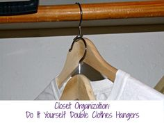 #DIY double clothes hangers for closet organization http://www.smartsavvyliving.com/how-to-organize-your-closet-with-do-it-yourself-double-clothes-hangers/ via @Michelle Flynn Pegram | Smart Savvy Living