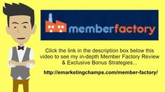 https://www.youtube.com/watch?v=dmHMg15c7s8 Member Factory Review  How A Membership Website Will Help You  For those who really have a web business and want to raise your revenue, you might want to think about creating a membership website. Read on to understand why a membership website will help your company.  Membership established company websites are excellent if you're seeking to raise your revenue without a great deal of additional work.