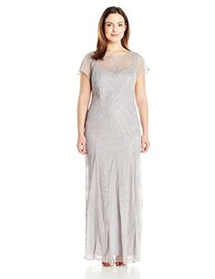 6cb79f04a2 Brianna Women s Plus Size Short Sleeve Fit and Flare Long Gown All Over  Beading
