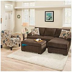 Simmons® Sunflower Brown Sofa with Reversible Chaise | Big Lots