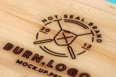 A fresh looking wood burning psd logo mockup with a pyrogravure art style to create burn marks of your design on...