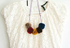 DIY Pom Pom Necklaces. Christmas Gift Idea.