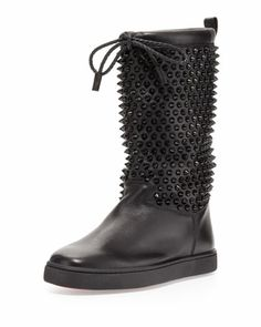 Sur La Pony Spiked Napa Boot, Black by Christian Louboutin at Neiman Marcus. Gorgeous Heels, Christian Louboutin Shoes, Winter Boots, Shoe Collection, Black Boots, Shoes World, Neiman Marcus, Combat Boots, Slippers