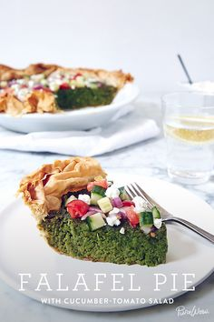 Falafel Pie with Cucumber-Tomato Salad. It's the easy dinner you've been waiting for. It's healthy, meatless and tastes amazing.