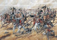 SOLDIERS- Courcelle: Fuentes de Oñoro, 1811 - Masséna noted that Wellington's southern flank was overextended and ordered the bulk of his cavalry to assault the Allied right supported by three infantry divisions, village of Pozo Bello, by Patrice Courcelle.