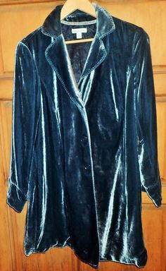 Womens Blue Velvet Turquoise Coldwater Creek Coat Jacket W 18 Gorgeous! 2XL  #ColdwaterCreek #BasicCoat
