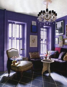 A purple room! Just need one of those patchwork chairs instead of the ivory one.