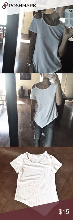 Cutout asymmetric tee White, asymmetric hem line, adjustable cutout on left shoulder, loose fit (wearing a small in image)- NOTE: only medium is NWT, small has been opened and worn for capturing image/fit Tops Tees - Short Sleeve