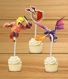 Clash of Clans party cupcake toppers can also be used in a candy bar, the kids love to play with them! This set is assorted. They are not