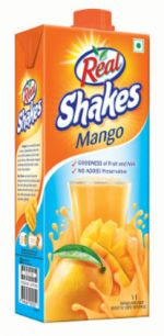 Dabur launches Real Shakes Mango beverage #packaging