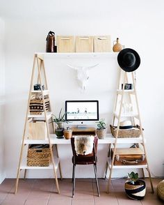 Talk about office goals? We need this office in our home and we need it now! Taking up minimal space yet offering massive storage space, this is perfect for smaller homes.