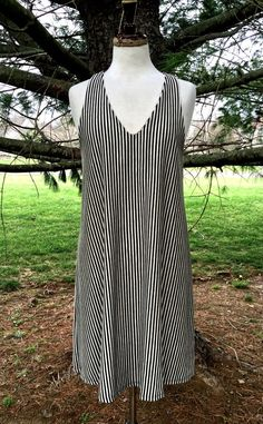NEW Anthropologie Puella black tan striped Swing Dress bathing suit Cover Up  M #Puella #swingdress #versatile