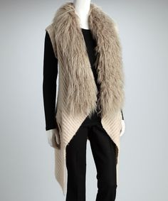 Take a look at this Costa Blanca Ivory Faux Fur Vest on zulily today!