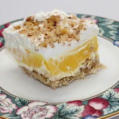 Cool Lemon Dessert try with shortbread type crust lemon pie filling cream cheese/dream whip top