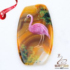 Hand Painted Flamingo Bird Agate Slice Gemstone Necklace Pendant D1707 0155 #ZL #Pendant