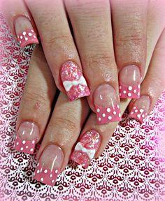 Barbie Girl Pink Nails w/ 3D Bows & Polka-dots