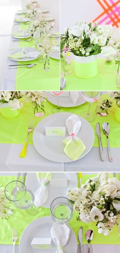 Brooklyn Bride -- I'm not a wedding person, but I would love to do a table setting using neon for a tea party. Neon settings, lots of candy and little tea cakes.