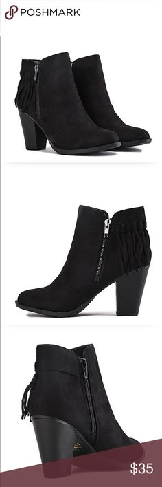 "•Black Ankle Booties• Simply yet chic/features a Fringe accent on the side panel giving the boot a bit of style/heel height: 3.5/shaft: 4""/opening: 9.5""(approx)/synthetic suede upper/side zipper closure/Fringe accent/wooden heel/new in box/thanks for looking                                                            ❌No Trades❌brand: classified Shoes Ankle Boots & Booties"