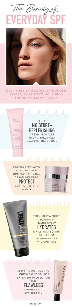 Start your day with Mary Kay! These must-have products with SPF protect your skin while you walk your dog, drive to work or any other day-to-day sun exposure that can add up to a lifetime of sun damage.