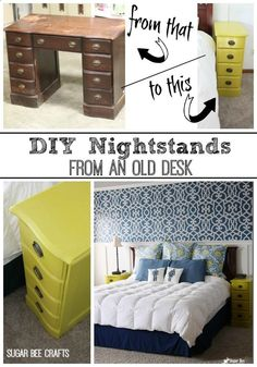 this is so cool! take an old desk, and make a pair of nightstands - love this DIY! check out the post for all the details. - - Nightstands - from a desk! ~ Sugar Bee Crafts