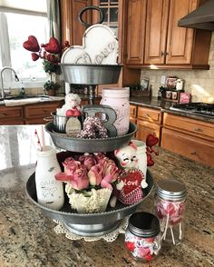 My three tier tray in my kitchen decorated for Valentine's Day. Valentine vignette. Melissa Bove's Kitchen.