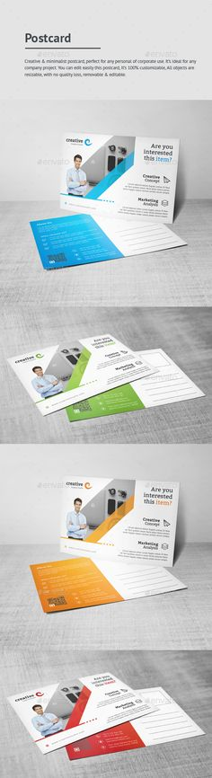 Buy Postcard by GraphStyle on GraphicRiver. File Information In) Size print dimension with bleed + guidelines, well layered organised (PSD), 400 DPI, . Postcard Template, Postcard Design, Direct Mail Design, Business Postcards, Print Templates, Tool Design, Fonts, Graphics, Graphic Design