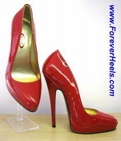 ForeverHeels Style PVP16, Red PU, Visible Platform, 16cm Heels