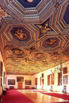 The Gold Hall of Telč castle (South Moravia), Czechia Prague, Inside Castles, Heart Of Europe, Historical Monuments, Europe Photos, Central Europe, Old City, Eastern Europe, Czech Republic