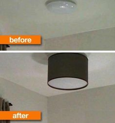 Lampshade over plain ceiling light.